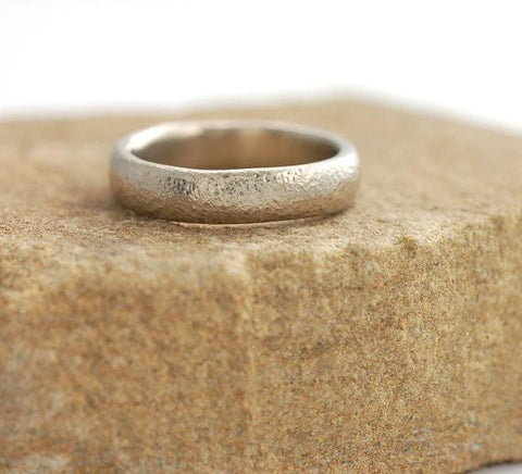 Sands of Time Wedding Rings in Palladium White Gold - Made to Order - Beth Cyr Handmade Jewelry