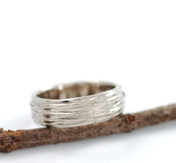 Tree Bark Wedding Rings in 14k and 18k Palladium White Gold - Made to Order - Beth Cyr Handmade Jewelry