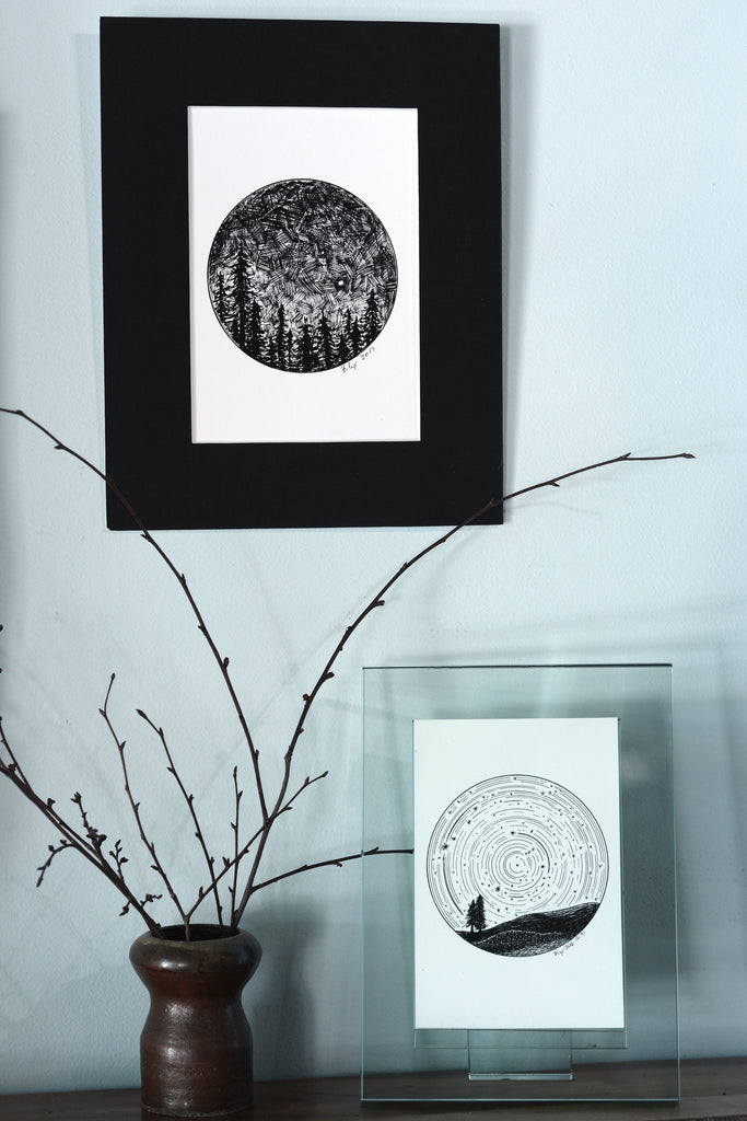 Dark Sky - Venus and Mars over the Trees - Original Drawing - Beth Cyr Handmade Jewelry