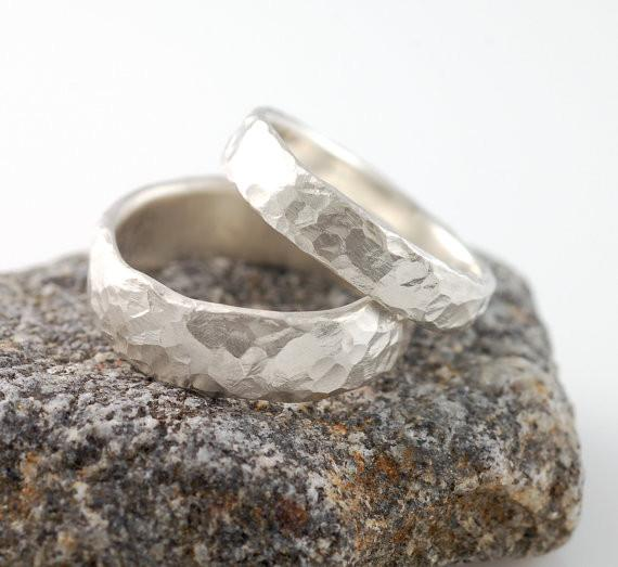 Love Rocks Hammered Wedding Rings in Palladium Sterling Silver - Made to Order - Beth Cyr Handmade Jewelry