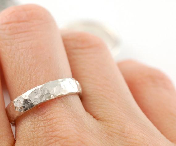 Love Rocks Hammered Wedding Rings in Palladium Sterling Silver - Made to Order
