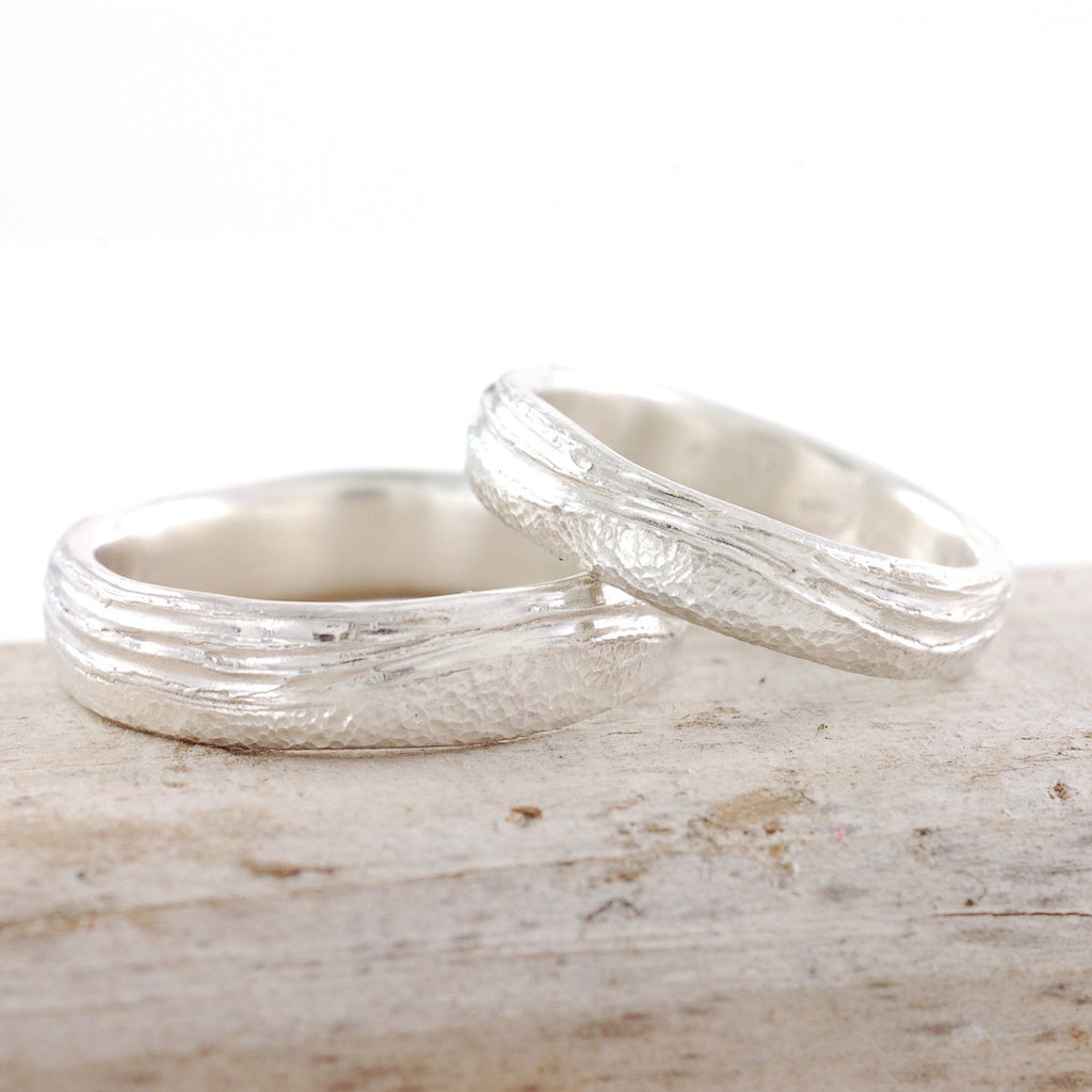 Sea and Sand Wedding Rings in Palladium Sterling Silver - Made to order - Beth Cyr Handmade Jewelry