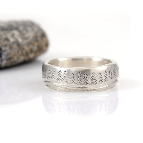 Tree and Sea Wedding Rings in Palladium Sterling Silver  - Made to Order - Beth Cyr Handmade Jewelry