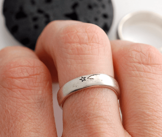 Wish Upon a Star Wedding Rings in Palladium Sterling Silver - Made to Order