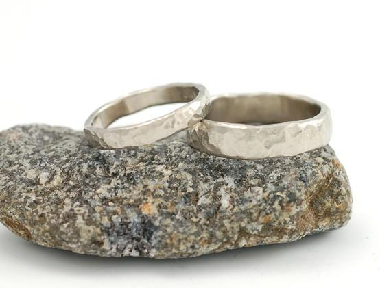 14k and 18k Palladium White Gold Hammered Wedding Rings - Made To Order - Nature Inspired Jewelry Designs by Beth Cyr - ring set