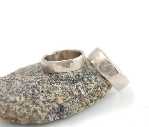 Simple Hammered Wedding Rings in Palladium White Gold - Made to Order - Beth Cyr Handmade Jewelry