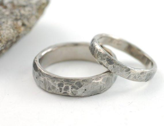 Tooled with Love Hammered Wedding Rings in Palladium White Gold - Made to Order - Beth Cyr Handmade Jewelry