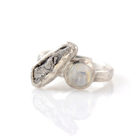 Meteorite Ring with Rainbow Moonstone in Palladium Sterling Silver - size 5.5 - Ready to Ship - Beth Cyr Handmade Jewelry