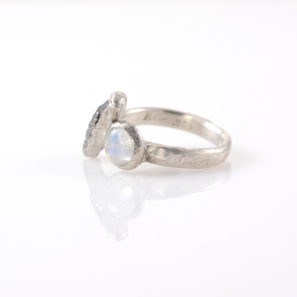 Meteorite Ring with Rainbow Moonstone in Palladium Sterling Silver - size 5.5 - Ready to Ship