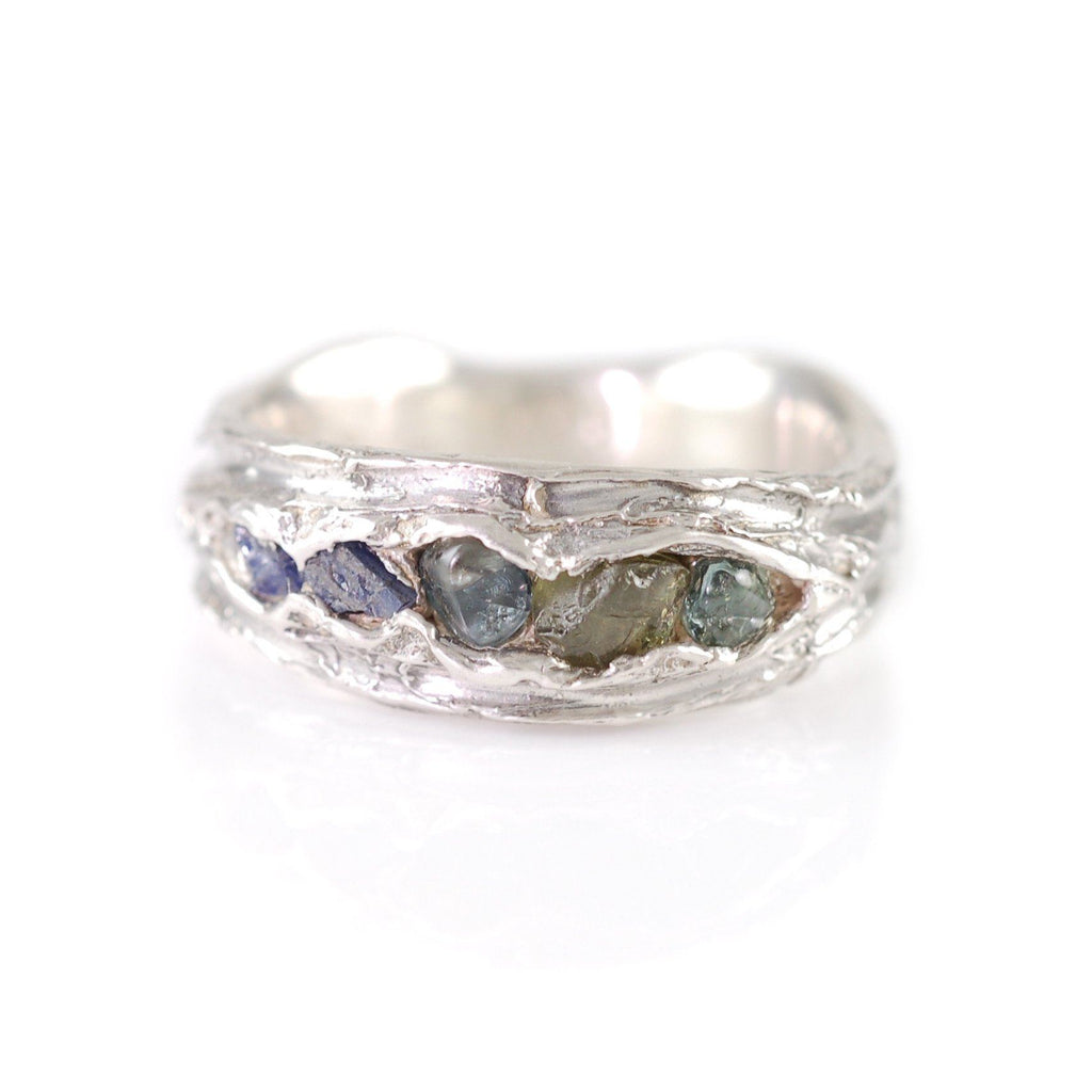 Redwoods Ring with Rough Sapphires in Palladium Sterling Silver  - Size 6 - Ready to Ship - Beth Cyr Handmade Jewelry