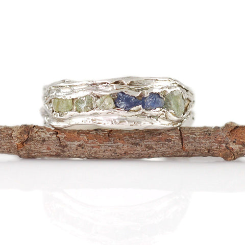 Redwoods Ring with Rough Sapphires in Palladium Sterling Silver  - Size 7.5 - Ready to Ship - Beth Cyr Handmade Jewelry