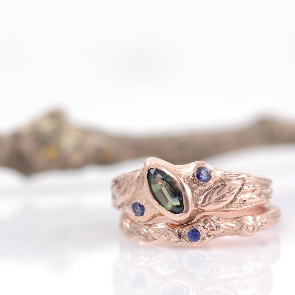 Custom Order for Amanda - rose gold twig ring with blue sapphire and leaf - Beth Cyr Handmade Jewelry