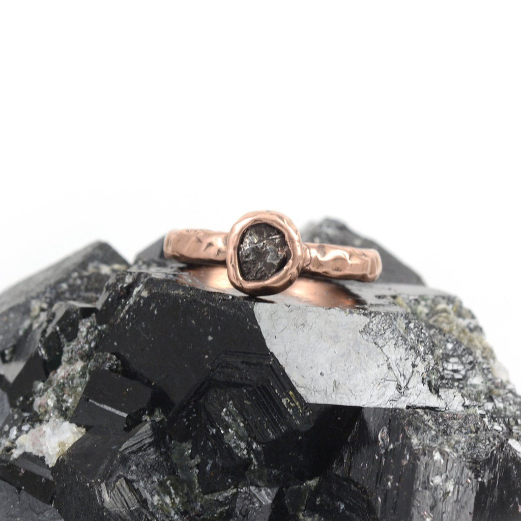 Single Meteorite Ring in 14k Rose Gold - size 6 - Ready to Ship - Beth Cyr Handmade Jewelry