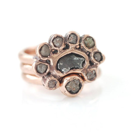 Meteorite and Rough Diamond Ring Set in 14k Rose Gold - size 6 1/4 - Ready to Ship - Beth Cyr Handmade Jewelry