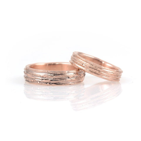 Tree Bark Wedding Rings in Rose Gold - Made to Order