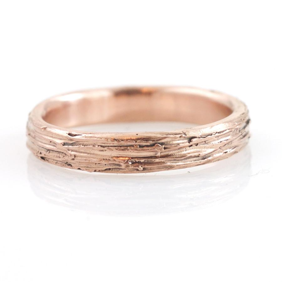 Tree Bark Wedding Rings in Rose Gold - Made to Order - Beth Cyr Handmade Jewelry