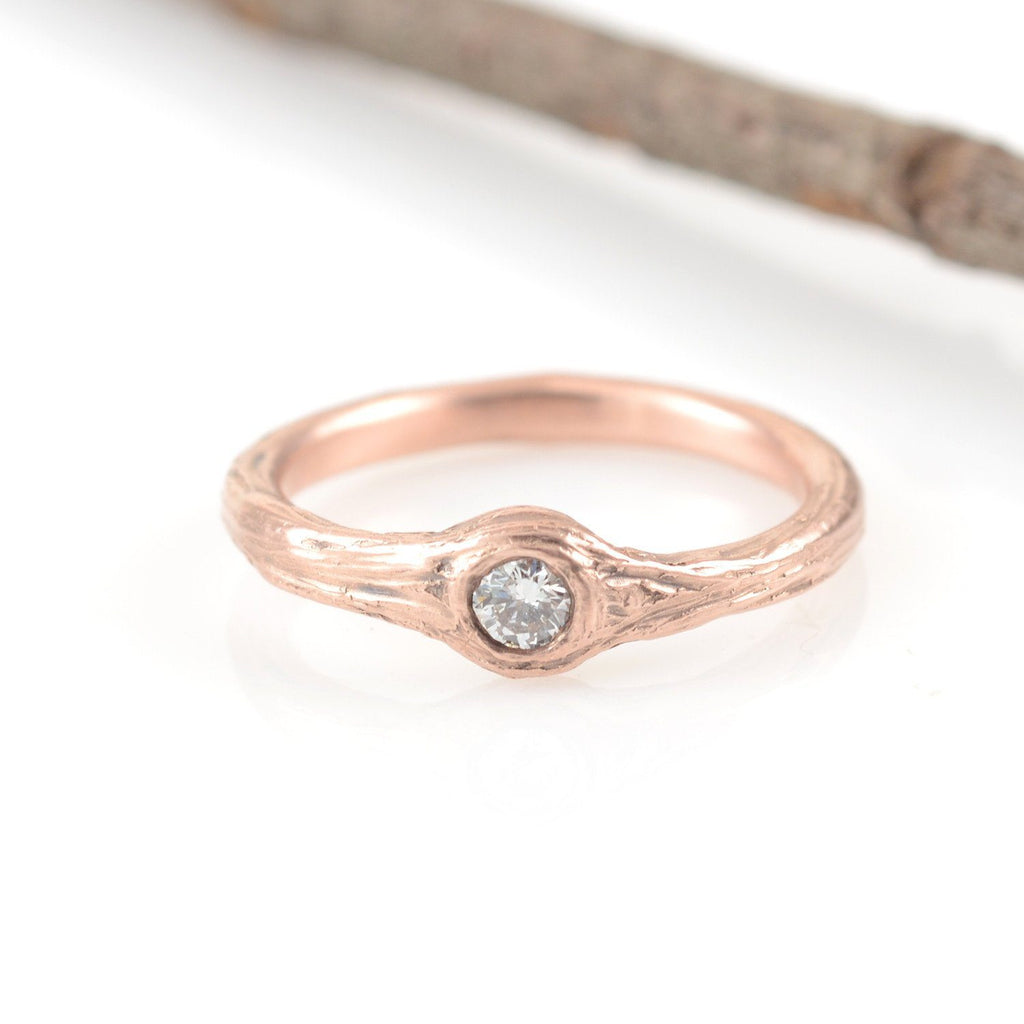 Twig Engagement Ring with .1ct Diamond in 14k Rose Gold - size 5.25 - Ready to Ship