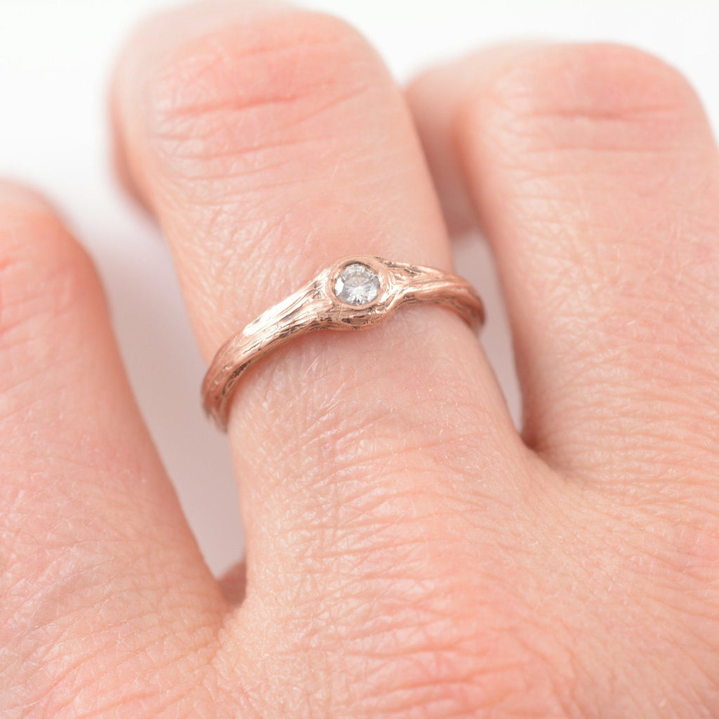 Twig Engagement Ring with .1ct Diamond in 14k Rose Gold - size 5.25 - Ready to Ship - Beth Cyr Handmade Jewelry