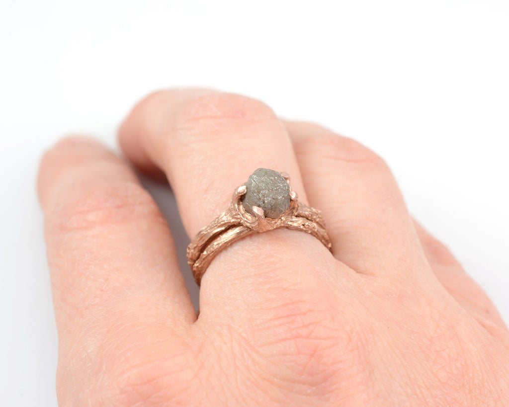 Twig Ring Set with Dark Gray Rough Diamond in 14k Rose Gold - Size 5.5 - Ready to Ship - Nature Inspired Engagement Ring - Beth Cyr Handmade Jewelry