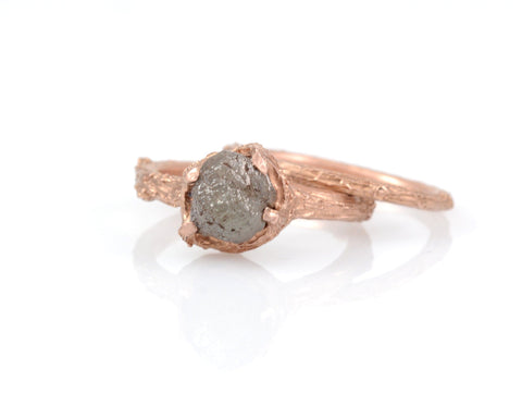 Twig Ring Set with Dark Gray Rough Diamond in 14k Rose Gold - Size 5.5 - Ready to Ship - Nature Inspired Engagement Ring