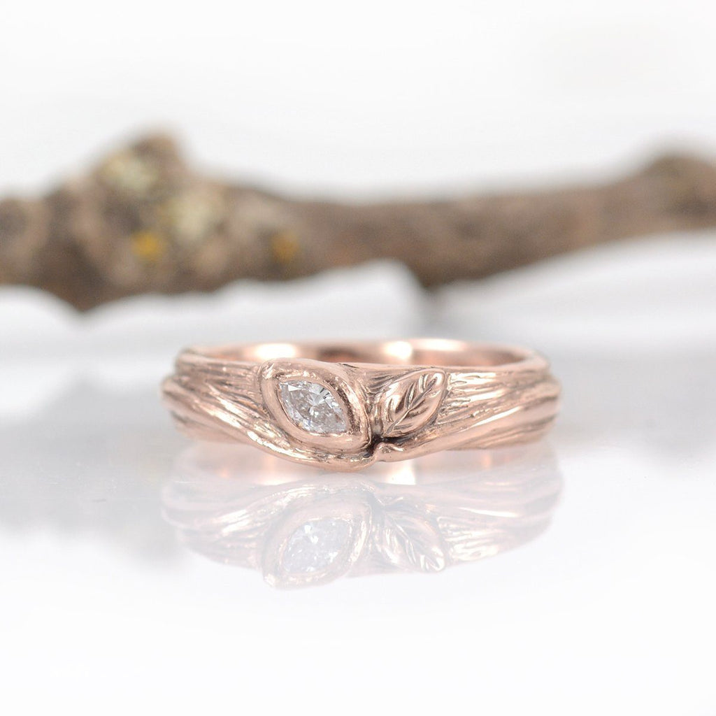 Custom Order Final Payment - rose gold vine and leaf with diamond - Beth Cyr Handmade Jewelry