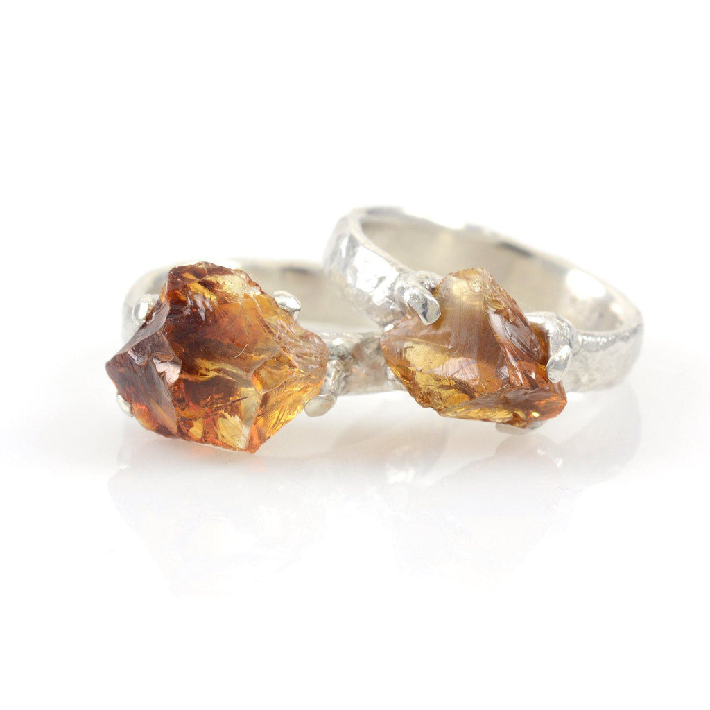 Rough Citrine Ring in Palladium Sterling Silver - size 7 - Ready to Ship