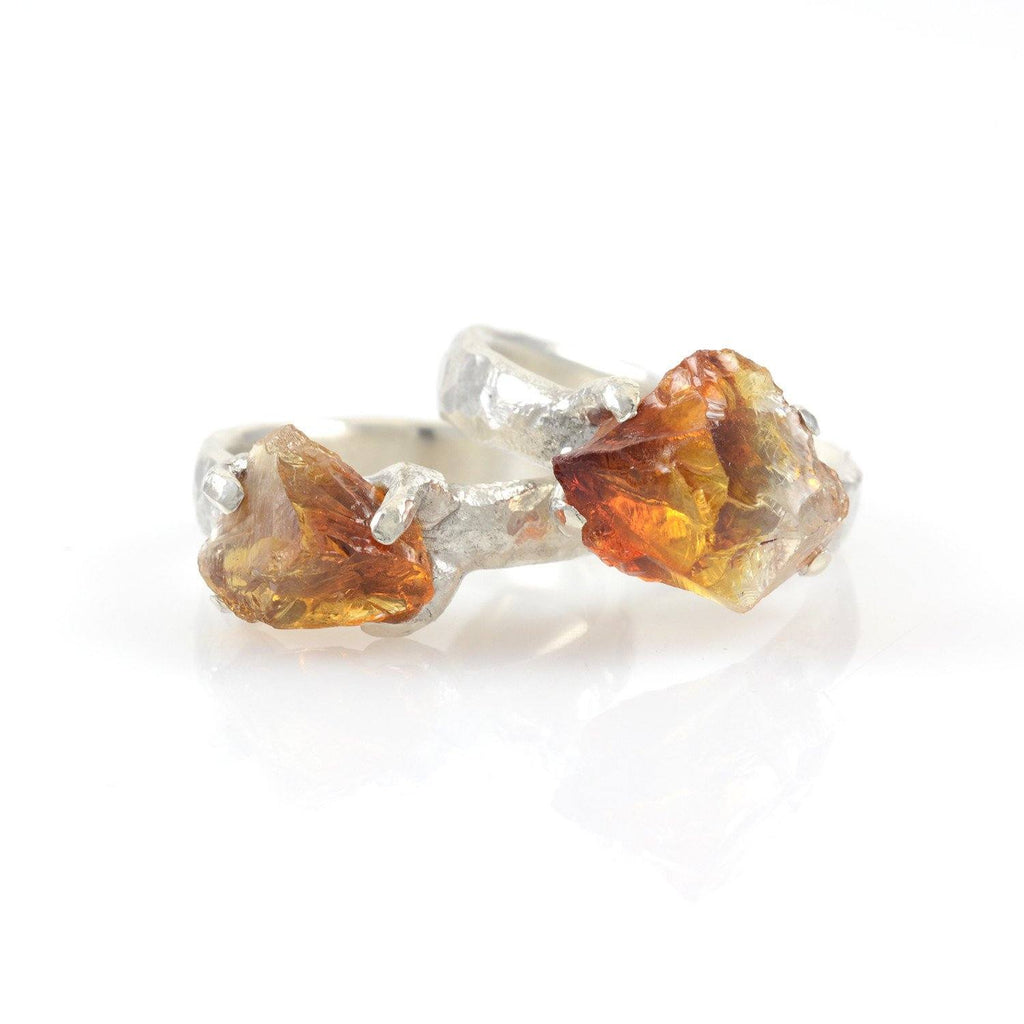 Custom Rough Citrine Ring in Palladium Sterling Silver - size 7 - Ready to Ship