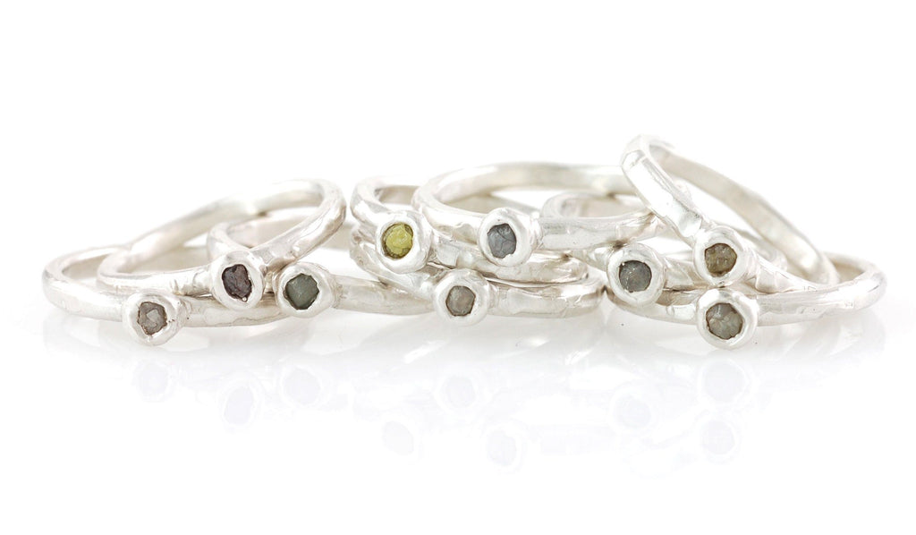 Rough Diamond Stacking Rings in Palladium Sterling Silver - Set of 3 - size 6 - Ready to Ship - Beth Cyr Handmade Jewelry