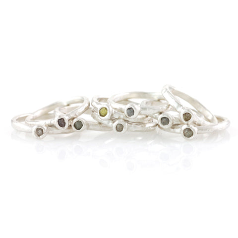 Rough Diamond Stacking Rings in Palladium Sterling Silver - Made to Order