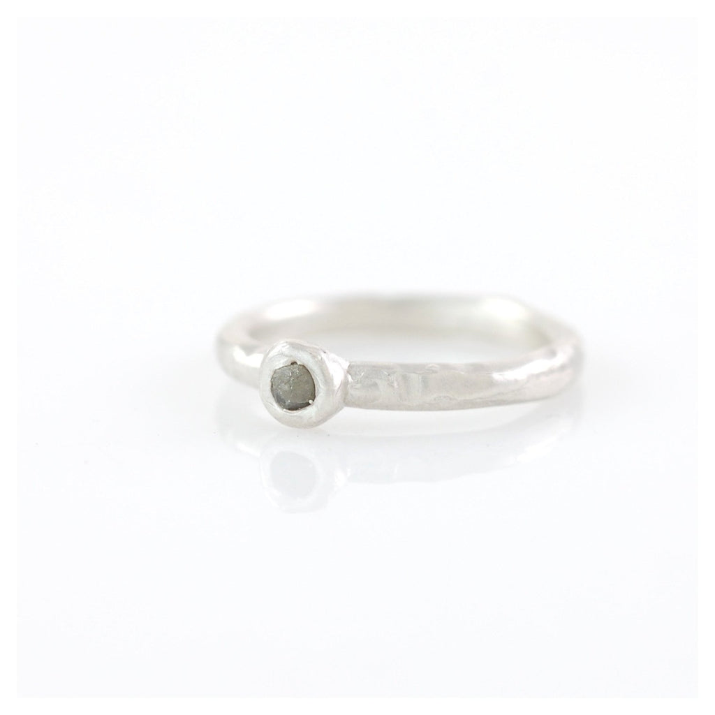 Rough Diamond Stacking Ring in Palladium Sterling Silver - size 5 1/4 - Ready to Ship - Beth Cyr Handmade Jewelry