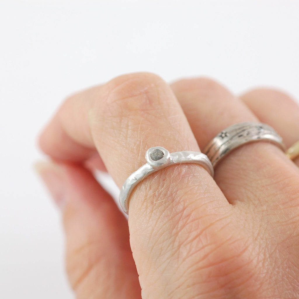 Rough Diamond Stacking Ring in Palladium Sterling Silver - size 5 1/4 - Ready to Ship