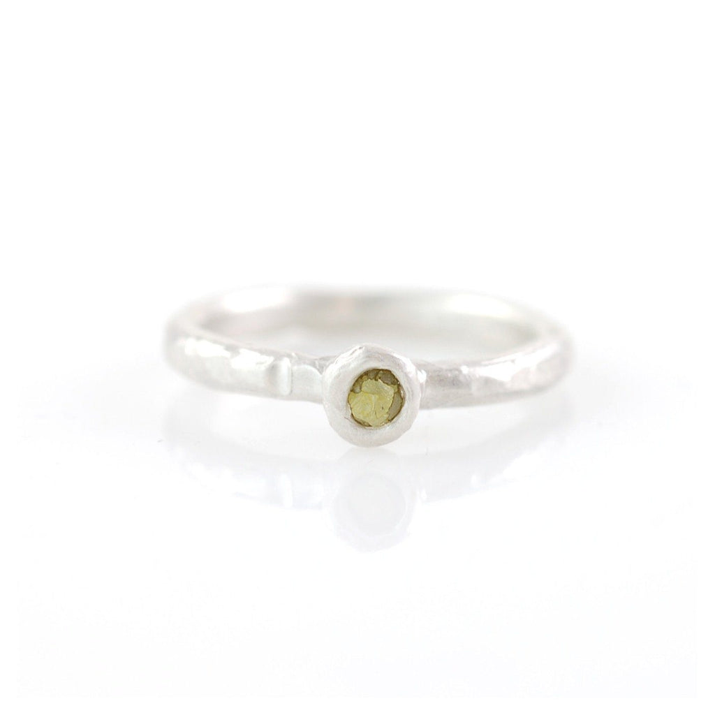 Rough Diamond Stacking Rings in Palladium Sterling Silver - Made to Order - Beth Cyr Handmade Jewelry
