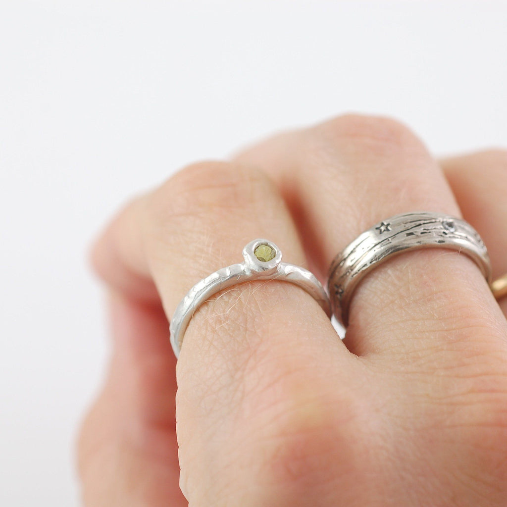 Rough Diamond Stacking Ring in Palladium Sterling Silver - size 5 - Ready to Ship - Beth Cyr Handmade Jewelry