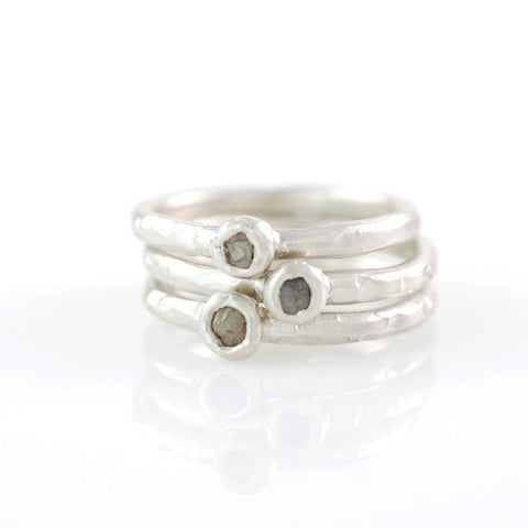 Rough Diamond Stacking Rings in Palladium Sterling Silver - Set of 3 - size 7 1/4 - Ready to Ship - Beth Cyr Handmade Jewelry