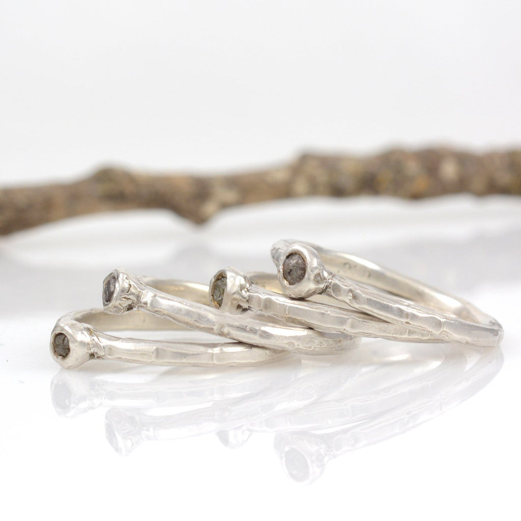 Rough Diamond Stacking Rings in Palladium Sterling Silver - Set of 4 - size 9 - Ready to Ship - Beth Cyr Handmade Jewelry