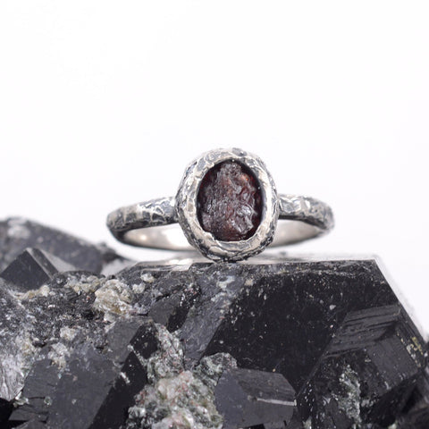 Rough Ruby Ring with Mountain Texture Band in Palladium Sterling Silver  - size 7 - Ready to Ship