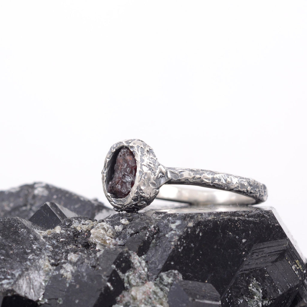 Rough Ruby Ring with Mountain Texture Band in Palladium Sterling Silver  - size 7 - Ready to Ship - Beth Cyr Handmade Jewelry