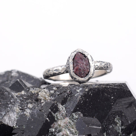 Rough Ruby Ring with Mountain Texture Band in Palladium Sterling Silver  - size 6.75 - Ready to Ship - Beth Cyr Handmade Jewelry