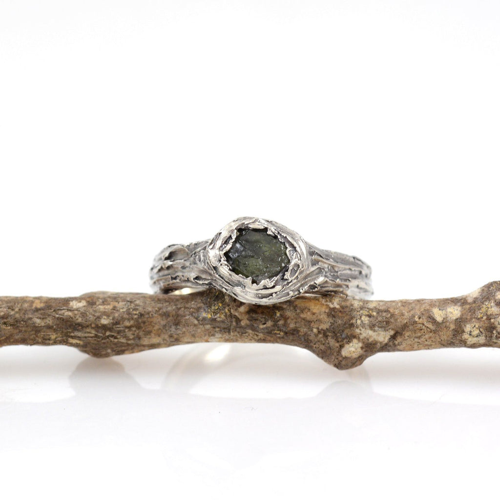 Tree Bark Ring with Rough Dark Green Sapphire in Palladium Sterling Silver - size 6.5 - Ready to Ship - Beth Cyr Handmade Jewelry