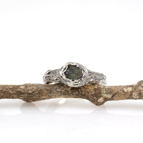 Tree Bark Ring with Rough Dark Green Sapphire in Palladium Sterling Silver - size 6.5 - Ready to Ship
