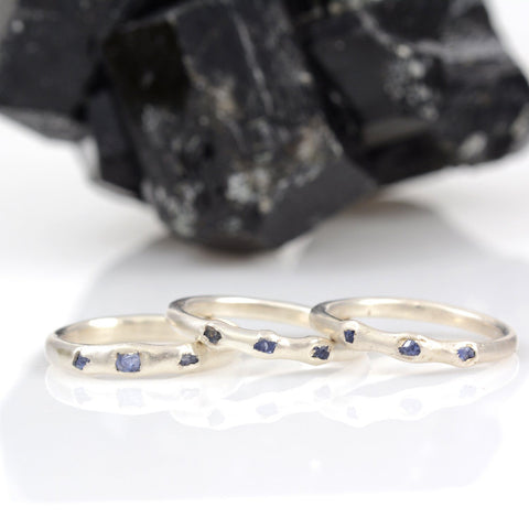 Rough Sapphire Trio Simplicity Wedding Rings in Palladium Sterling Silver - Size 6.25 or 7 - Ready To Ship - Beth Cyr Handmade Jewelry