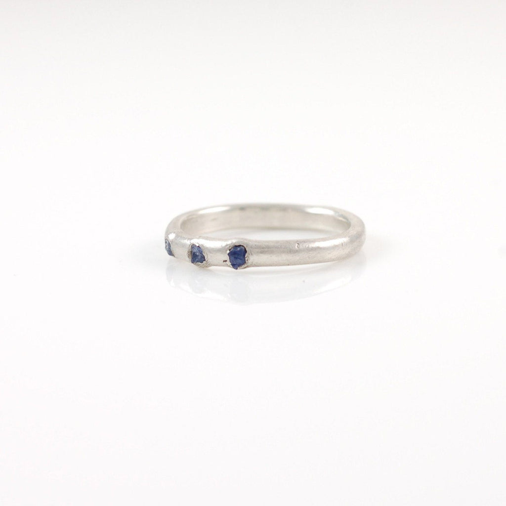 Rough Sapphire Trio Simplicity Wedding Rings in Palladium Sterling Silver - Made to Order - Beth Cyr Handmade Jewelry
