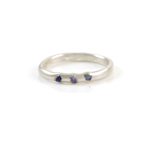 Rough Sapphire Trio Simplicity Wedding Rings in Palladium Sterling Silver - Size 11 1/4 - Ready To Ship - Beth Cyr Handmade Jewelry