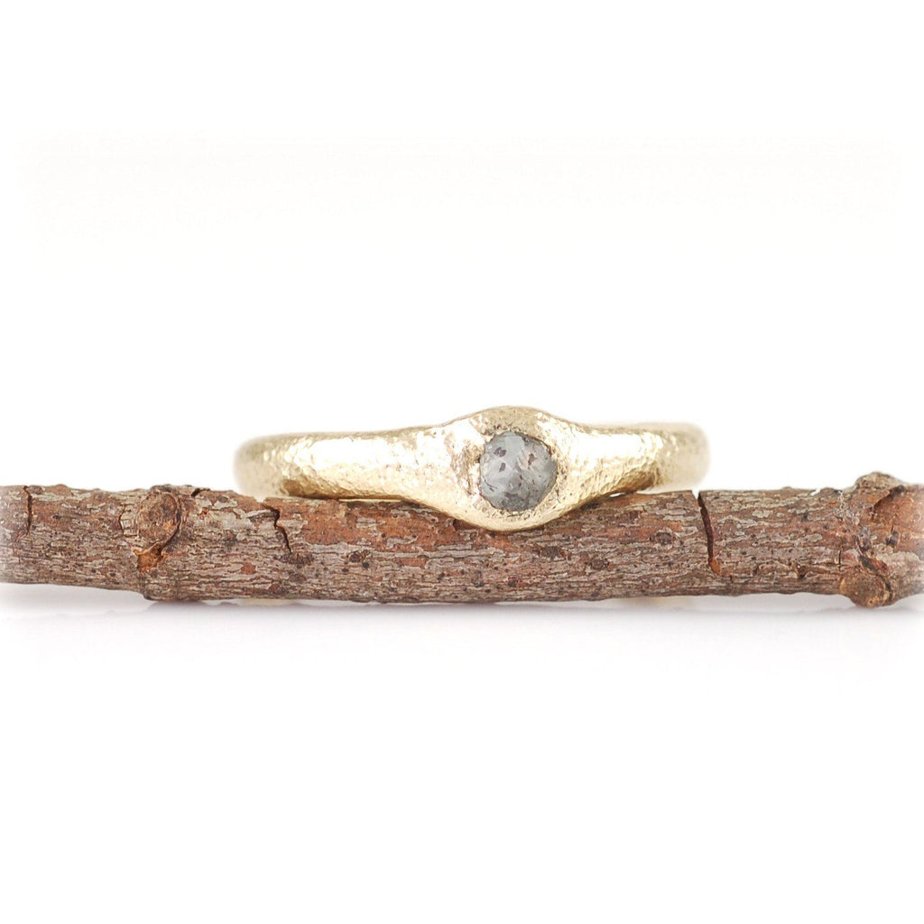Sands of Time Engagement Ring in 14k Yellow Gold - Ready to Ship - Beth Cyr Handmade Jewelry