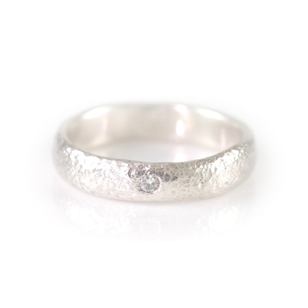 Sands of Time Diamond Engagement Ring in Palladium Sterling Silver - size 7 - Ready to Ship - Beth Cyr Handmade Jewelry