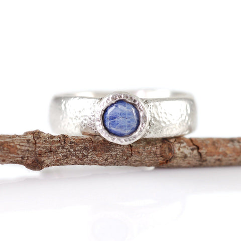 Sapphire in Sand Engagement Ring in Palladium Sterling Silver - size 6 3/4 - Ready to Ship - Beth Cyr Handmade Jewelry