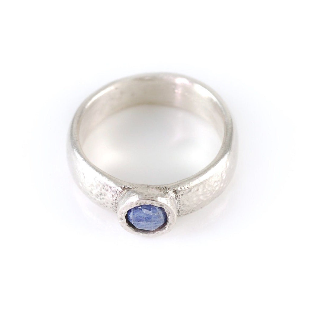 Moissanite in Sand Engagement Ring in Palladium Sterling Silver - made to order - Beth Cyr Handmade Jewelry