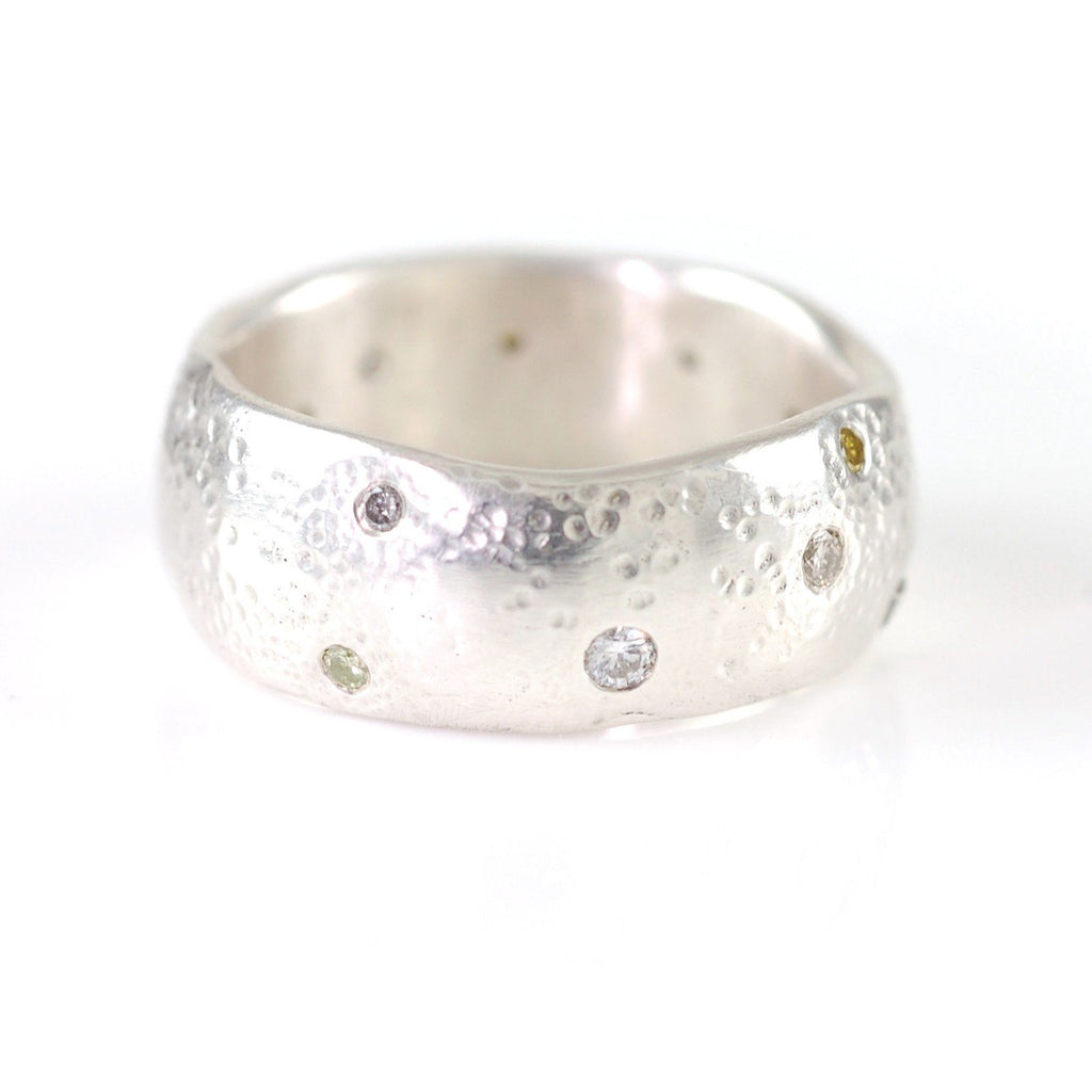 Scattered Diamonds in Sand in Palladium Sterling Silver - size 5 3/4 - Ready to Ship - Beth Cyr Handmade Jewelry