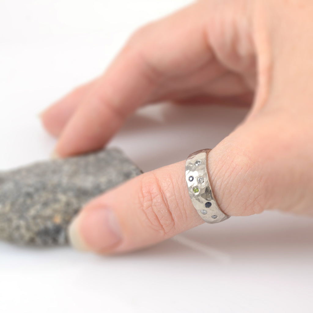 Love Rocks Ring with Scattered Diamonds and Sapphires in Palladium/Silver - size 7 - Ready to Ship