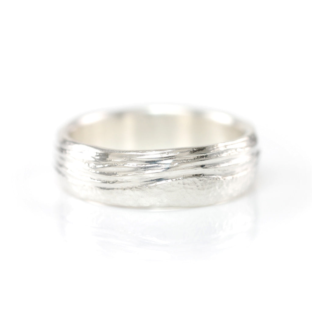 Sea and Sand Wedding Rings in Palladium Sterling Silver - Made to order